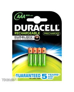 DURACELL AKUMULATORY STAYS CHARGED AAA 800mAh HR03 1,2V _ 4 szt