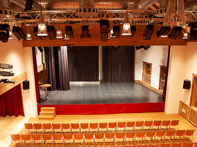 Stage made of stage platforms and stage curtains, Culture Centre Wals Siezenheim
