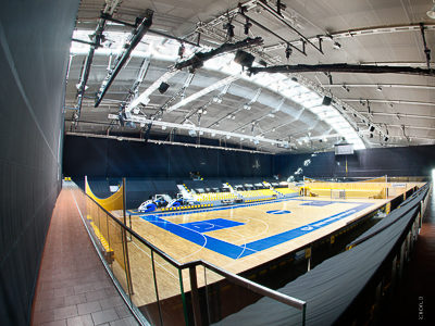 Sports hall + multi-purpose hall: braille curtain for acoustics and hall separation, Gdynia