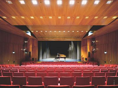 Kulturzentrum-Kornwestheim: Theatersaal mit Bühnenaushang