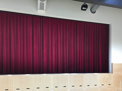 Jagstauenhalle: Theatre curtains and theatrical rails