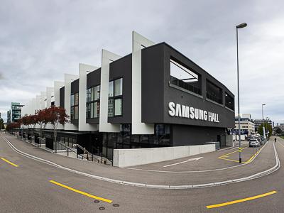 Kolejnice, akustické závěsy a zatemňovací závěsy pro Samsung Hall, Curych