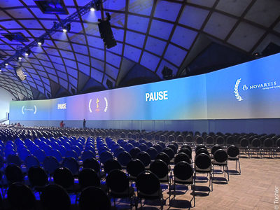 Panorama - Projection screen 66mx5.5m for the Novartis conference at the Prague Exhibition Palace