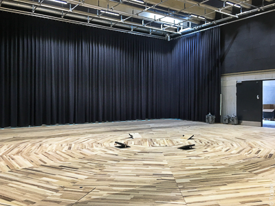 Curtain tracks, curtains as wall cladding and dim-out for rehearsal stage, Heilbronn