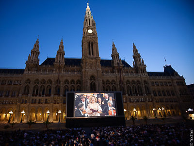 Large-size projection screen, film festival town hall square, Vienna