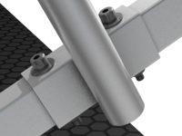Bühnensystem T-REX Detail Befestigung Handlauf an Automatiktreppe