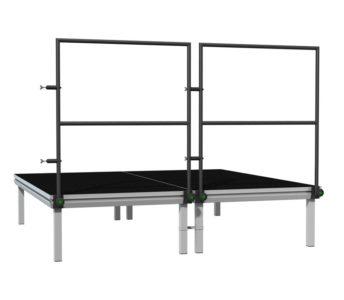 Bühnensystem T-REX Bühnengeländer für Bühnenpodest , Absturzsicherung schwarz 1m mit Verbinder gerade in Anwendung