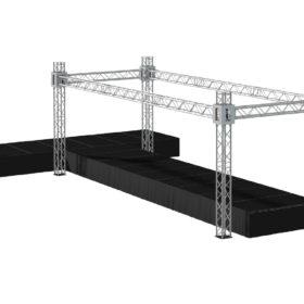 Bühnensystem T-REX Mobilbühne mit Trussing Bühnenrigg