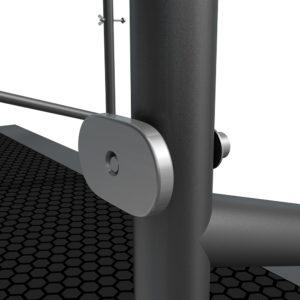 Bühnensystem T-REX Anstelltreppe Bühnentreppe Einzelelement Detail Verbindung Handlauf zu Bühnenpodest V3