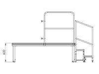 Bühnensystem T-REX Zeichnung Bühnenpodest mit Anstelltreppe V9