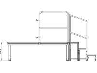 Bühnensystem T-REX Zeichnung Bühnenpodest mit Anstelltreppe V8