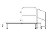 Bühnensystem T-REX Zeichnung Bühnenpodest mit Anstelltreppe V7