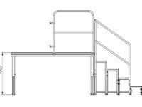 Bühnensystem T-REX Zeichnung Bühnenpodest mit Anstelltreppe V5