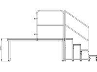 Bühnensystem T-REX Zeichnung Bühnenpodest mit Anstelltreppe V6