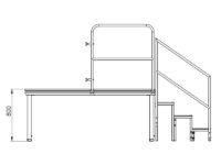 Bühnensystem T-REX Zeichnung Bühnenpodest mit Anstelltreppe V3