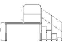 Bühnensystem T-REX Zeichnung Bühnenpodest mit Anstelltreppe