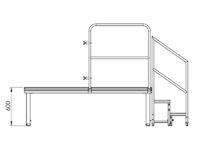 Bühnensystem T-REX Zeichnung Bühnenpodest mit Anstelltreppe V2