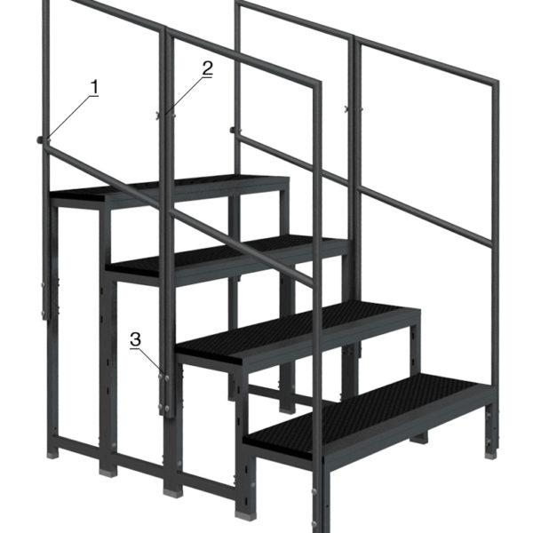 Bühnensystem T-REX Anstelltreppe Bühnentreppe 4-stufig