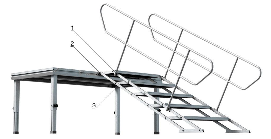 Bühnensystem T-REX Automatiktreppe an Bühnenpodest mit Steckbein teleskopbierbar