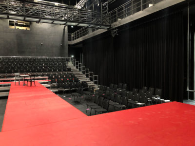 Stage curtain with drive and darkening for theatre hall, rehearsal stages and music school at KUBA Aalen