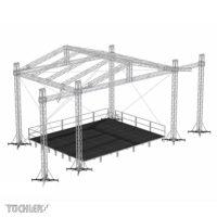 Bühnensystem T-REX roofs TXGR mit TX Podesten und Geländern